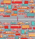 Uomo bloccato in mezzo a traffico di automobile Immagini Stock Libere da Diritti