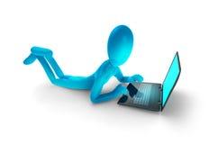 Uomo blu con il computer portatile Immagine Stock Libera da Diritti