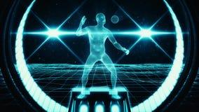 uomo blu di 3D Wireframe nel fondo di moto del ciclo del Cyberspace VJ royalty illustrazione gratis
