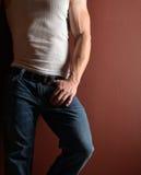 Uomo in blue jeans fotografia stock