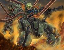 Uomo brutale dei robot di guerra mondiale contro la macchina illustrazione di stock