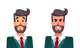 Uomo calmo ed arrabbiato del fumetto Responsabile di ufficio armonioso ed aggressivo Uomo d'affari con emozione positiva e negati Fotografie Stock