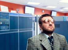 Uomo calmo in vetri Fotografia Stock