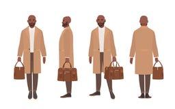 Uomo calvo afroamericano vestito in trench o tuta sportiva elegante Personaggio dei cartoni animati maschio isolato su bianco royalty illustrazione gratis