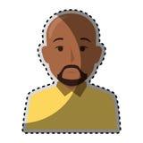 Uomo calvo castana del mezzo ente variopinto dell'autoadesivo con la barba royalty illustrazione gratis