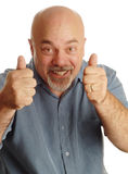 Uomo calvo che dà i pollici in su Fotografia Stock Libera da Diritti