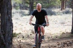 Uomo calvo che guida un mountain bike su una traccia della sporcizia nella foresta Fotografie Stock Libere da Diritti