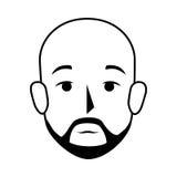 Uomo calvo di vista frontale della siluetta con i baffi Immagini Stock Libere da Diritti