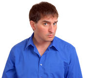 Uomo in camicia di vestito blu 2 fotografia stock