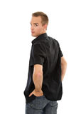 Uomo in camicia nera Fotografie Stock Libere da Diritti