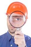 Uomo in cappello con l'occhio ingrandetto Fotografia Stock Libera da Diritti