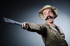 Uomo in cappello di safari Fotografia Stock Libera da Diritti