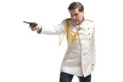 Uomo in cappotto russo dell'ufficiale immagine stock libera da diritti