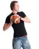 Uomo casuale con calcio Immagine Stock