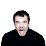 Uomo caucasico che grida ritratto displeased arrabbiato immagini stock libere da diritti