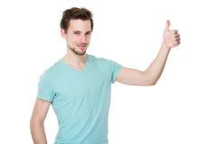 Uomo caucasico con il pollice su Fotografia Stock