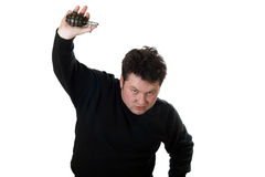 Uomo caucasico con la granata a mano. Fotografie Stock