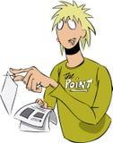 Uomo che appunta avviso illustrazione vettoriale