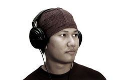 Uomo che ascolta la musica Fotografia Stock Libera da Diritti