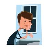 Uomo che aspetta accanto ad un personaggio dei cartoni animati dell'illustrazione della finestra Immagine Stock