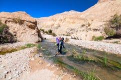Uomo che attraversa The Creek Fotografie Stock Libere da Diritti