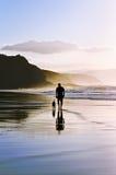 Uomo che cammina il cane sulla spiaggia Immagine Stock