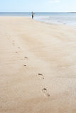 Uomo che cammina lungo il puntello di pesca della spiaggia Immagini Stock