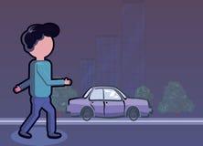 Uomo che cammina sul marciapiede illustrazione di stock