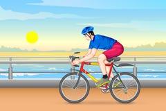 Uomo che cicla per la forma fisica illustrazione vettoriale