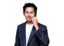 Uomo che comunica con telefono delle cellule Fotografia Stock Libera da Diritti