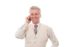 Uomo che comunica sul mobile Immagine Stock Libera da Diritti