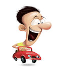 Uomo che conduce un'automobile rossa Immagini Stock
