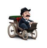 Uomo che conduce vecchia automobile Immagini Stock