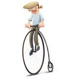 Uomo che conduce vecchia bici, velocipede Fotografia Stock