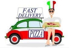 Uomo che consegna pizza Fotografie Stock