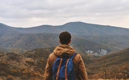 Uomo che considera le montagne, retrovisione Fotografia Stock
