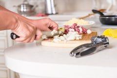 Uomo che cucina la cena che taglia gli ingredienti a pezzi Fotografia Stock Libera da Diritti