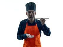 Uomo che cucina la siluetta del cuoco unico isolata Immagini Stock Libere da Diritti