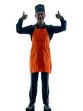 Uomo che cucina la siluetta del cuoco unico isolata Fotografie Stock