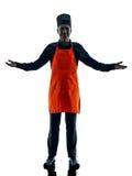 Uomo che cucina la siluetta del cuoco unico isolata Fotografia Stock Libera da Diritti