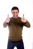 Uomo che dà i pollici su Fotografia Stock