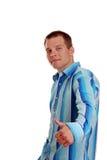 Uomo che dà i pollici in su Fotografia Stock