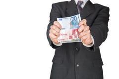 Uomo che dà le euro banconote Fotografie Stock Libere da Diritti