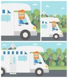 Uomo che determina l'illustrazione di vettore della casa mobile Fotografie Stock Libere da Diritti