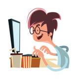 Uomo che esamina il personaggio dei cartoni animati dell'illustrazione del computer illustrazione vettoriale