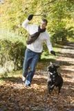 Uomo che esercita cane in terreno boscoso Fotografia Stock