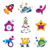 Uomo che esplora lo spazio profondo - saetti in alto il lancio e la volata all'icona di concetto del progettista delle stelle royalty illustrazione gratis