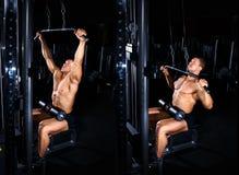 Uomo che fa esercizio per l'esercitazione posteriore immagine stock
