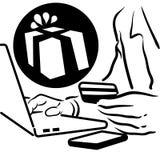 Uomo che fa un acquisto online Fotografie Stock