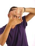 Uomo che fa un blocco per grafici con le sue barrette fotografia stock libera da diritti